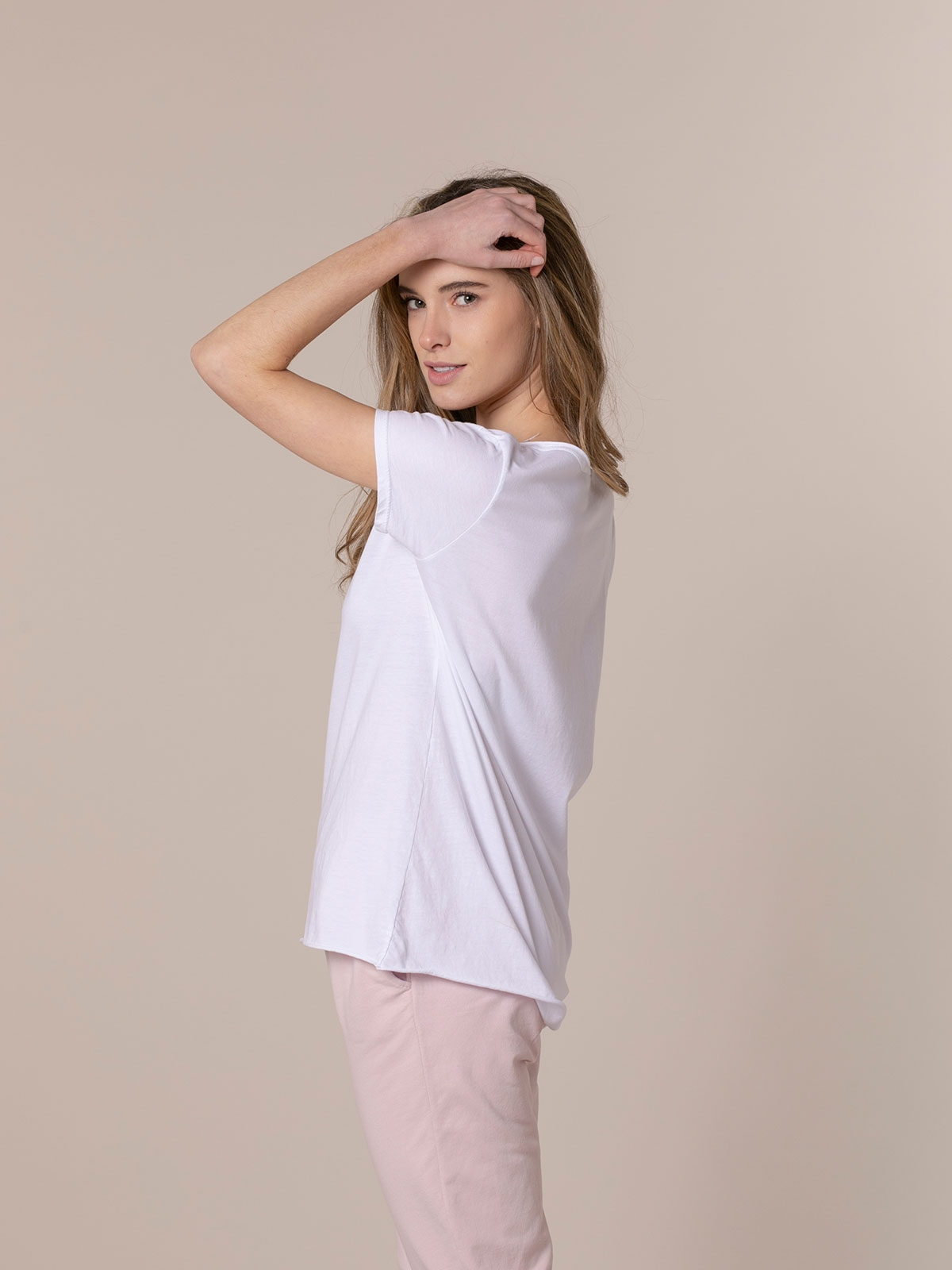 Woman Woman Plain cotton T-shirt White