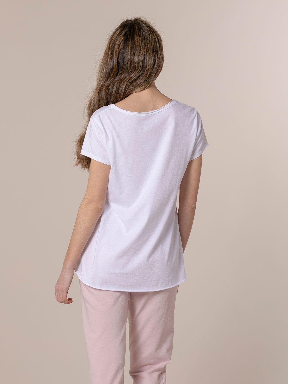 Camiseta mujer lisa algodón Blanco