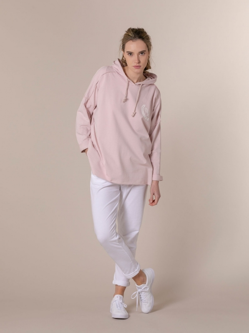 Woman Retro rackets oversize sweatshirt Pink