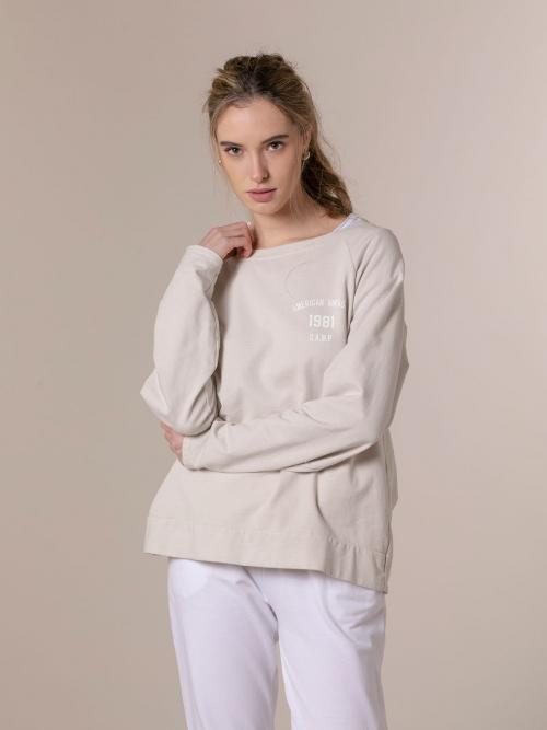 Woman 1981 vintage plain sweatshirt Beige
