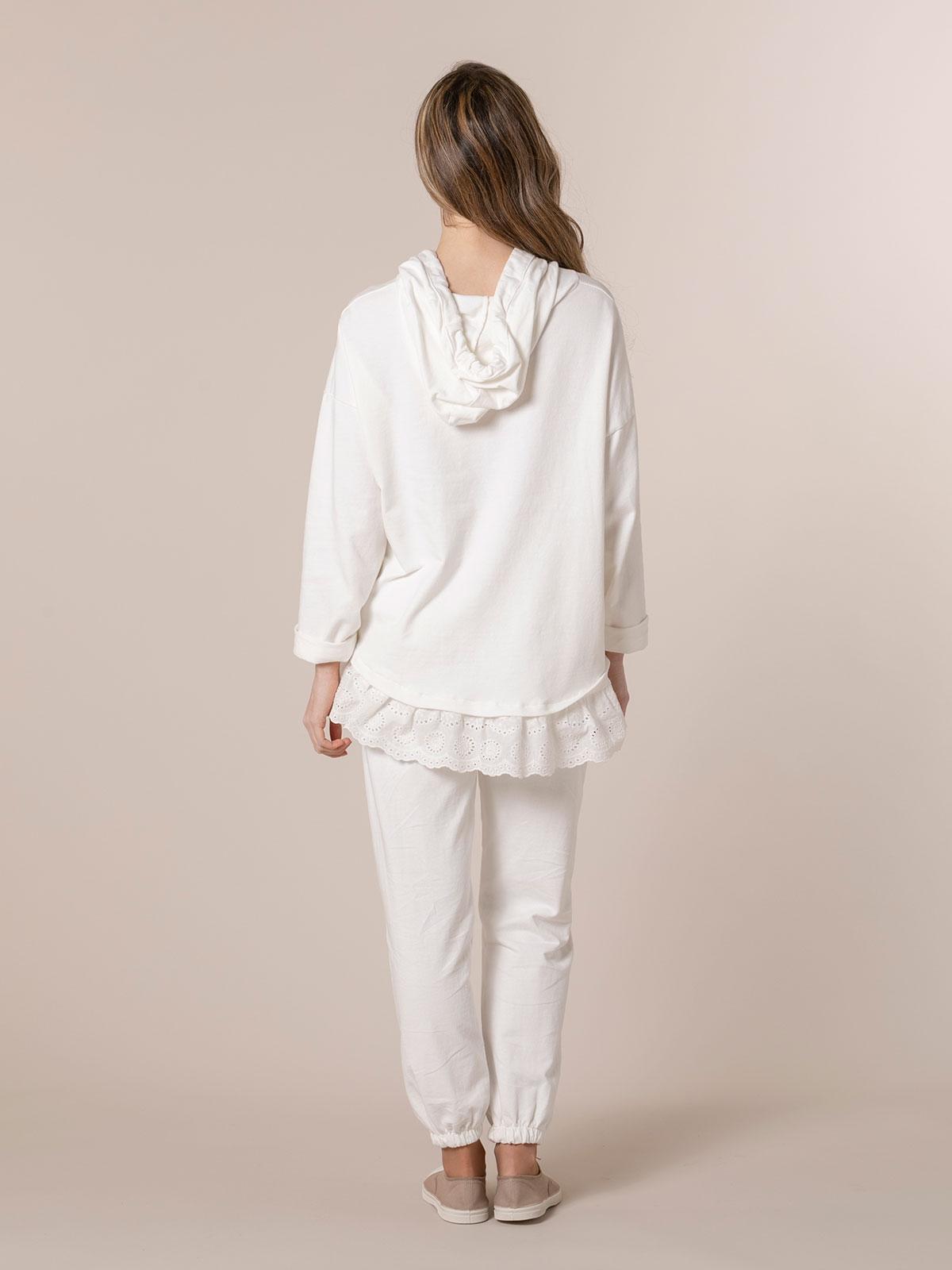 Sudadera mujer botones con encaje en bajo Blanco