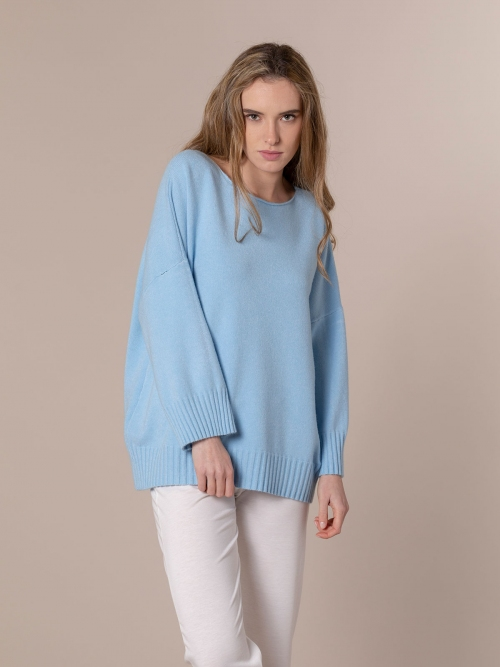 Woman Oversized soft knit sweater Blue