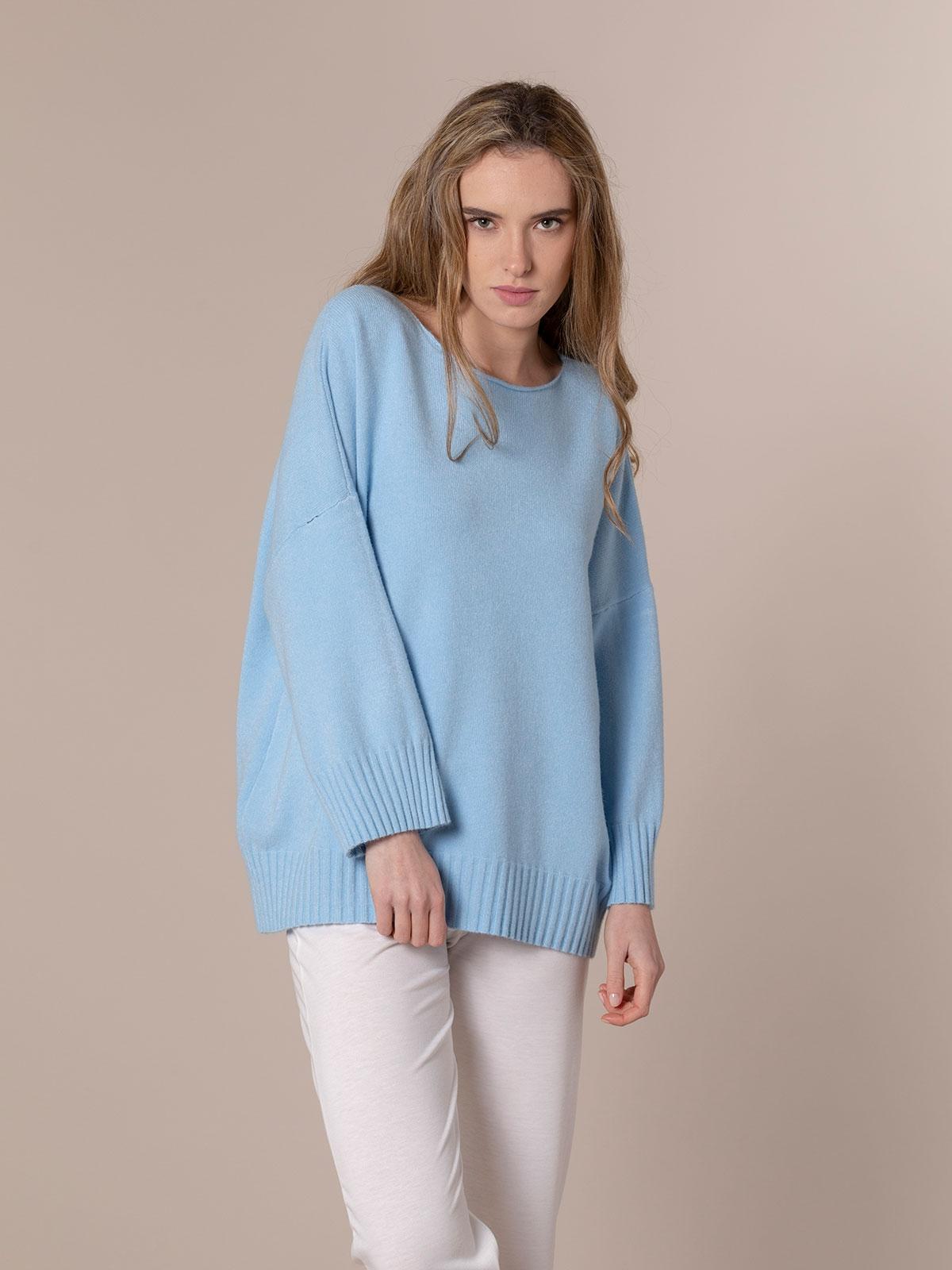 Woman Oversized soft knit sweater Blue