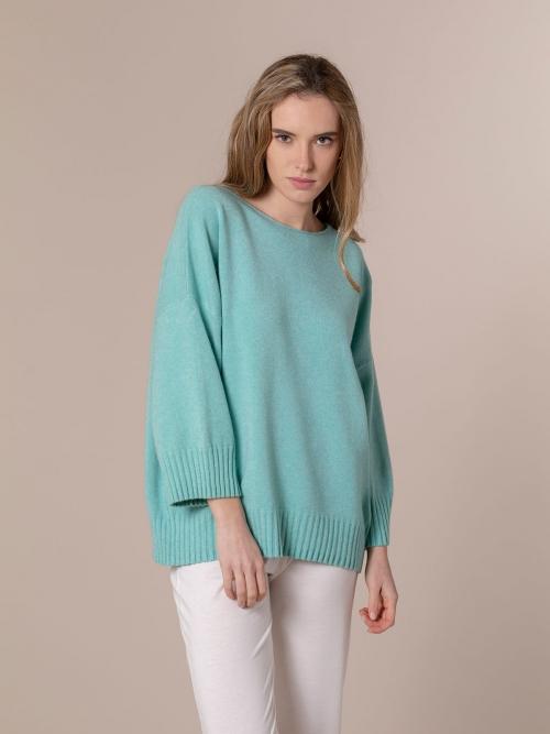 Woman Oversized soft knit sweater Aqua