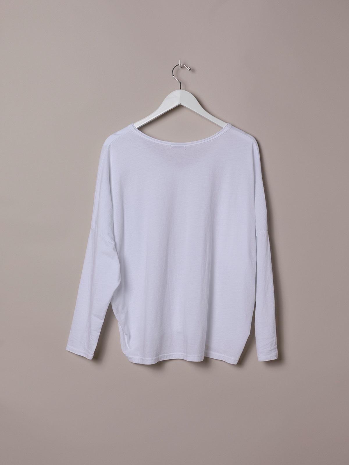 Camiseta mujer algodón lisa cuello pico Blanco