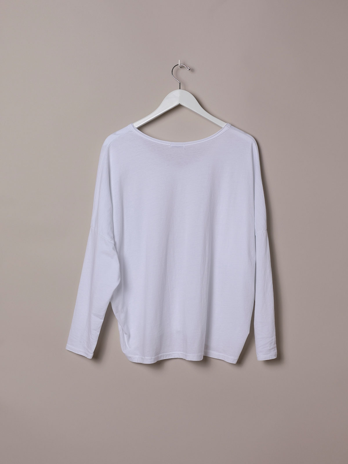 Woman Plain cotton V-neck T-shirt White