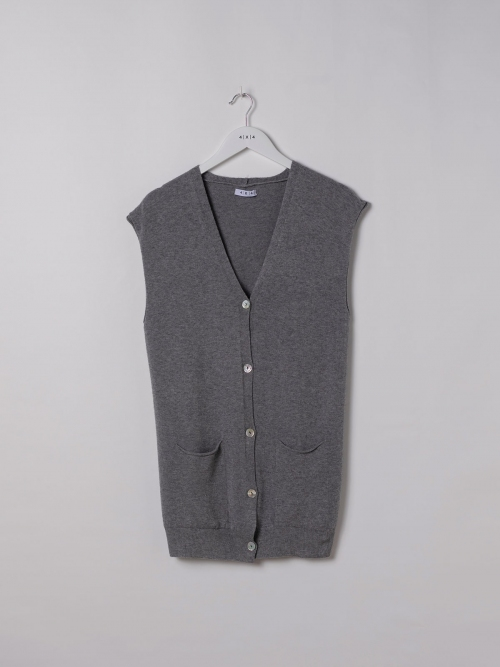 Woman Knitted vest and buttons Grey