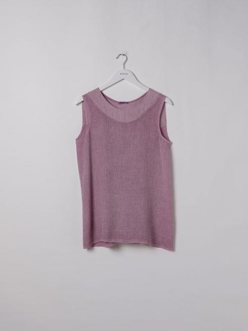 Woman Ecowash sleeveless linen shirt Mallow