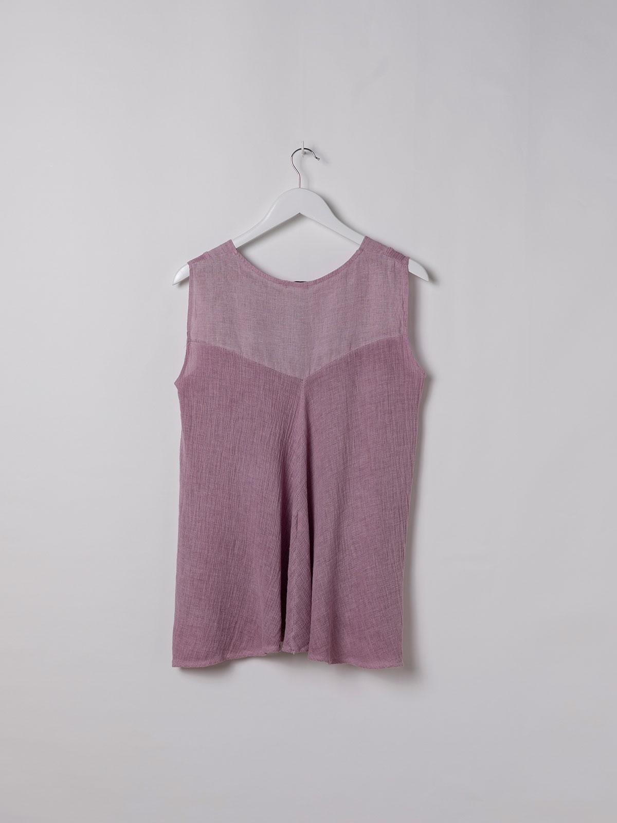 Camisa de lino mujer sin mangas ecowash Malva