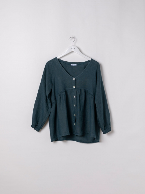 Camisa de lino mujer cuello pico azul oscuro