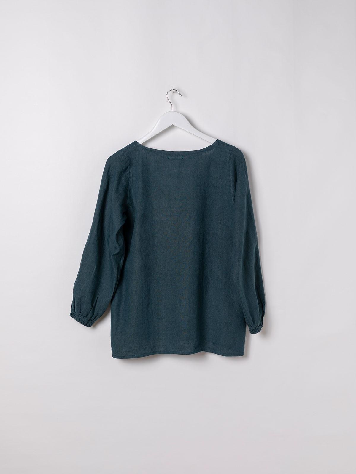 Woman V-neck linen shirt azul oscuro