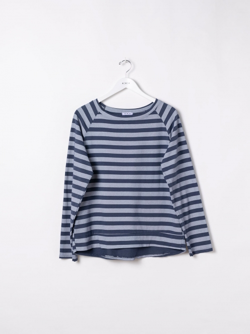 Woman Striped boat neck sweatshirt Blue Navy
