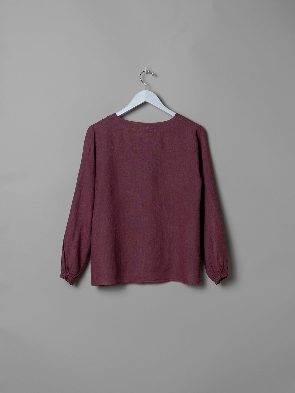 Camisa de lino mujer botones Malva
