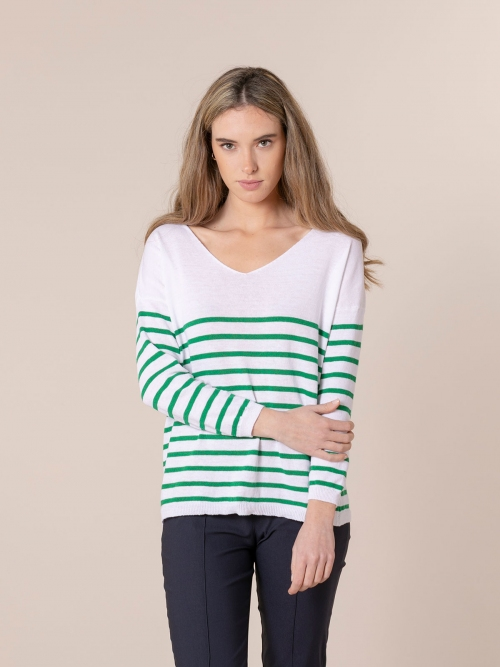 Woman Lightweight knit sweater with striped hem Green