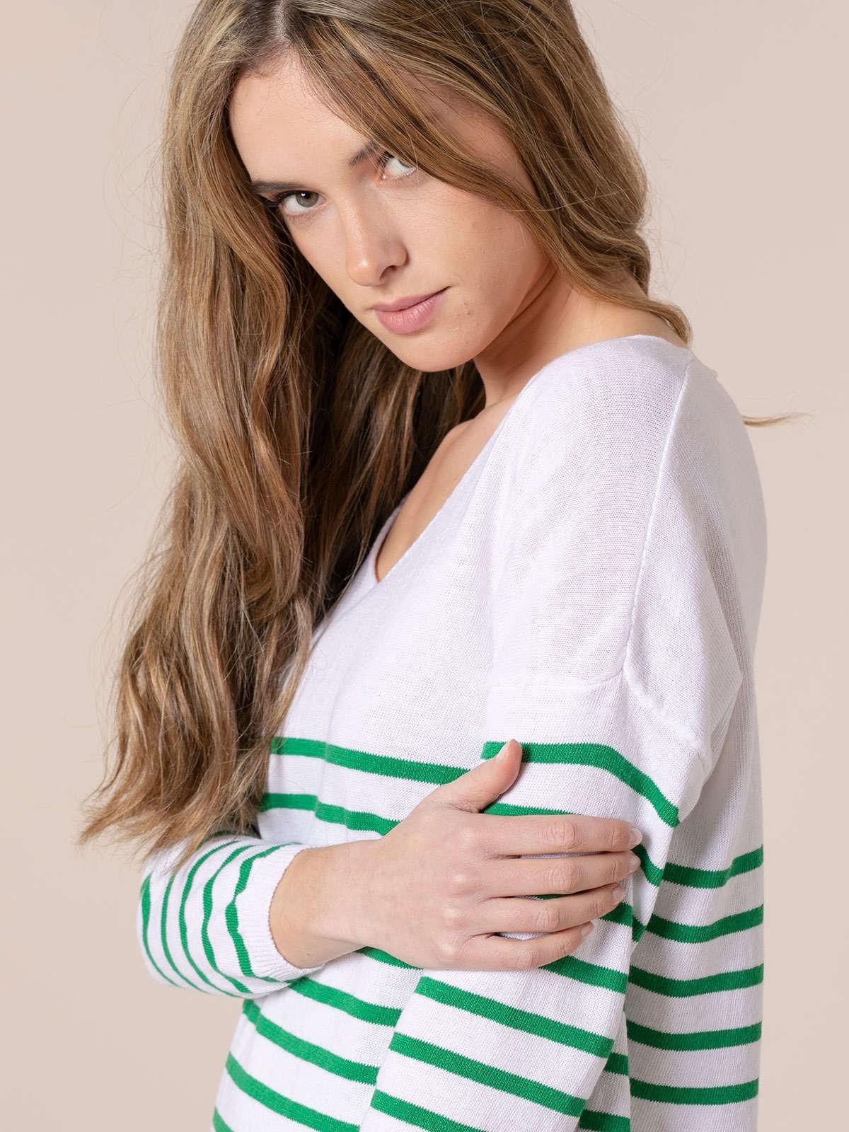 Jersey mujer punto fino rayas en bajo Verde