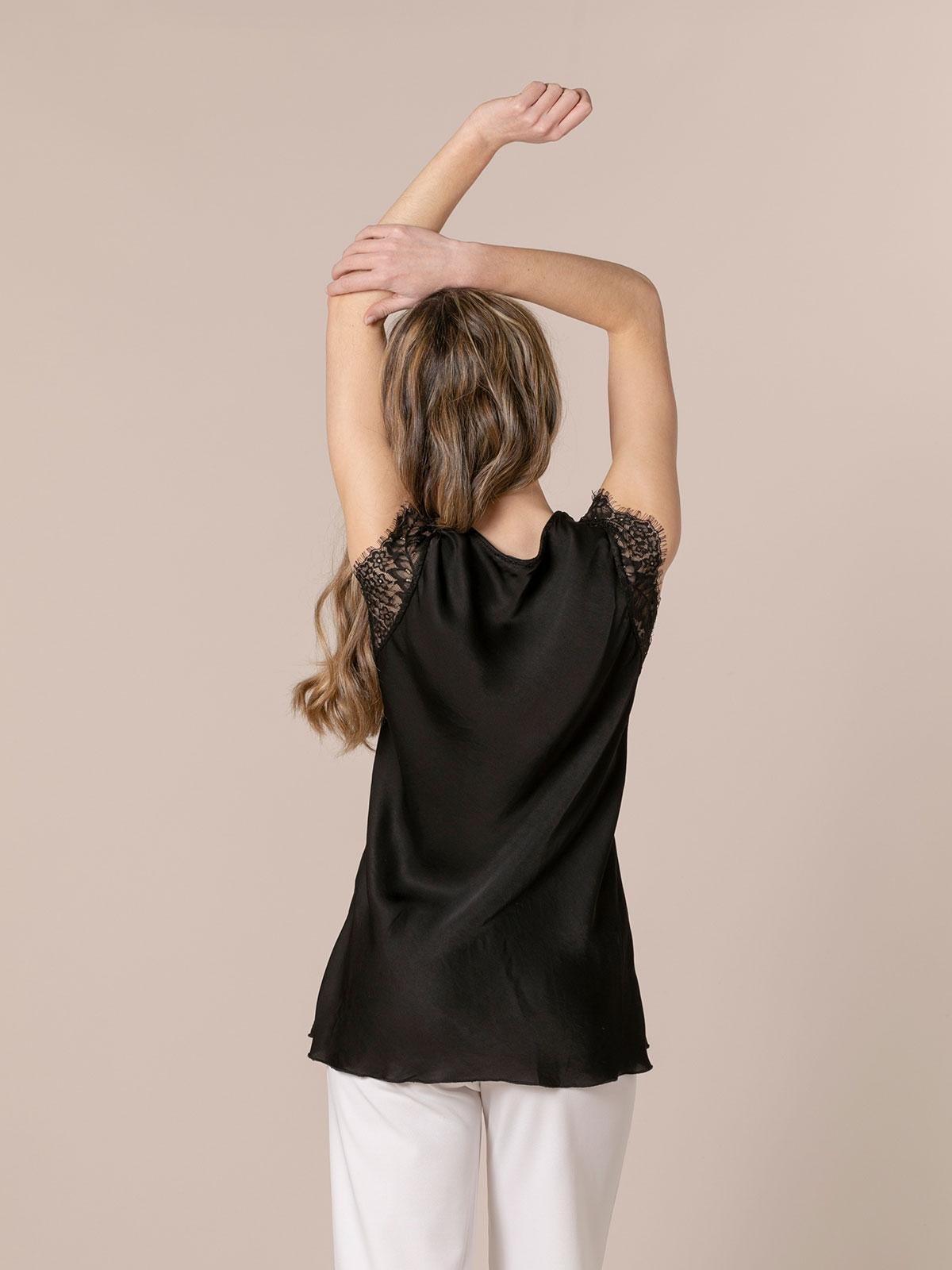 Woman Lingerie top with crochet Black