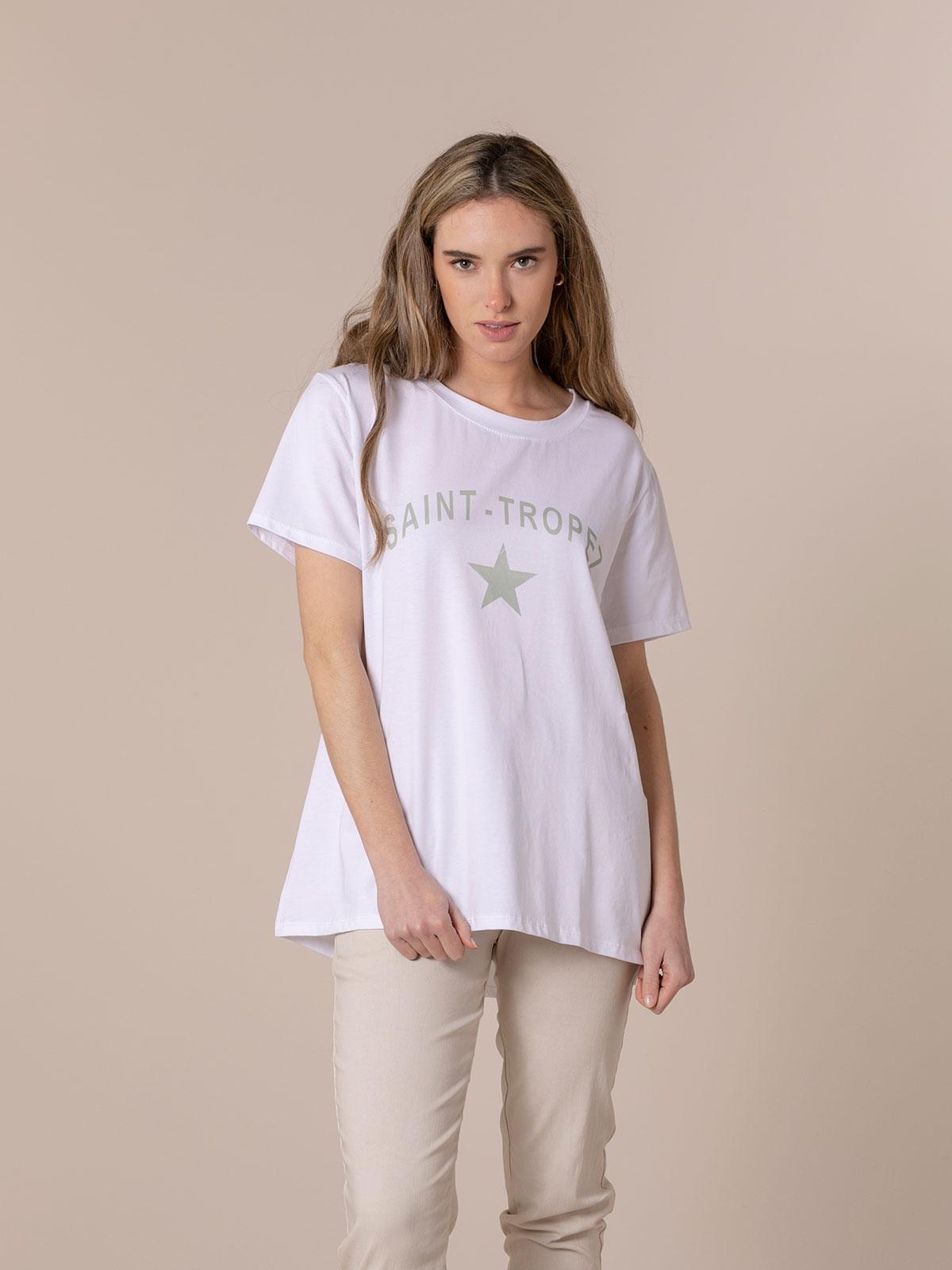 Woman St tropez message organic t-shirt Green