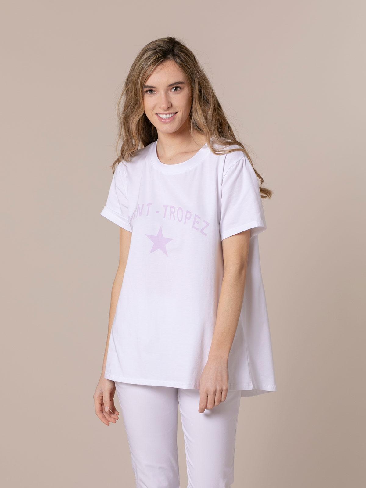 Woman St tropez message organic t-shirt Lila