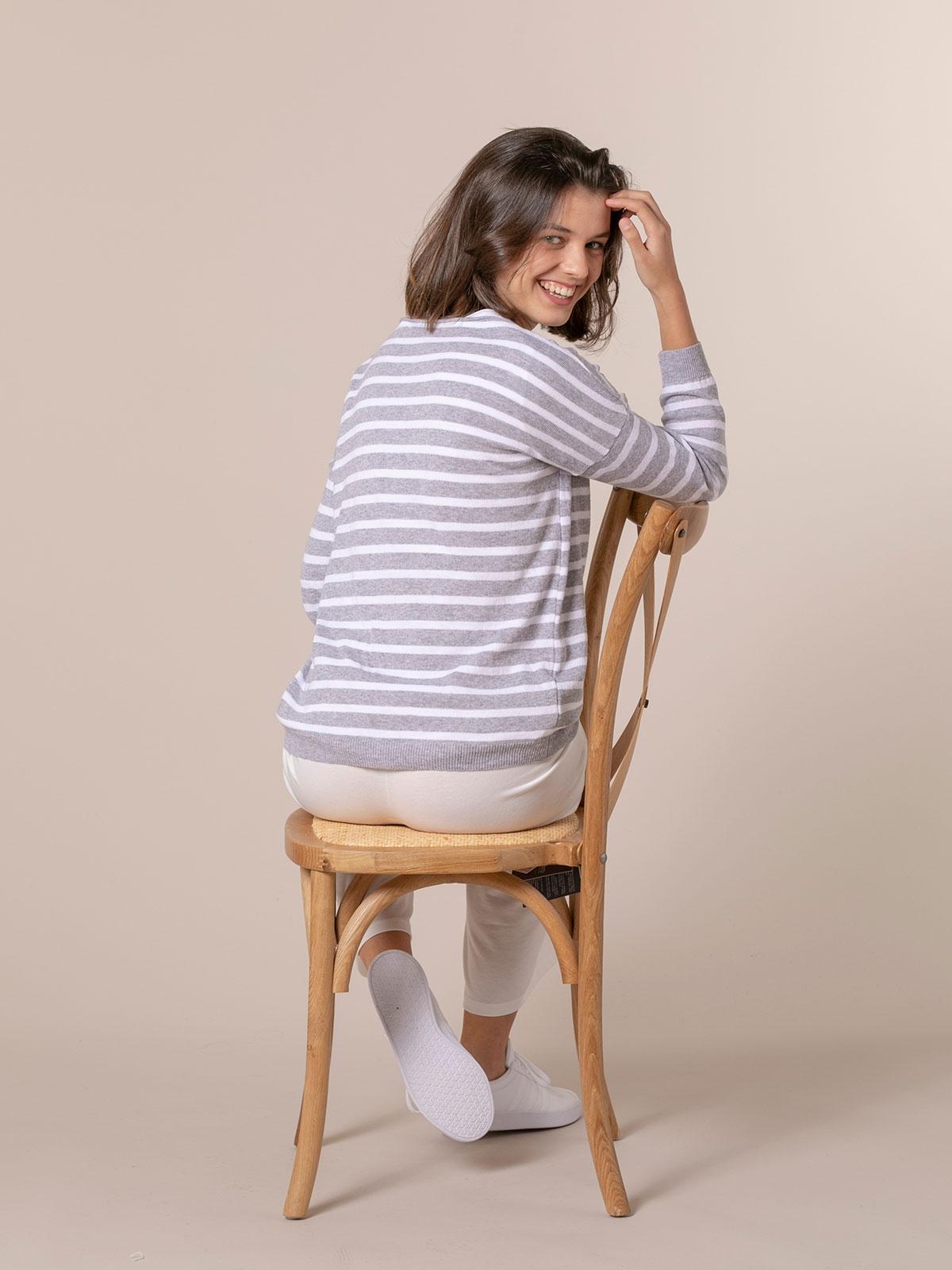 Woman light striped sweater Grey