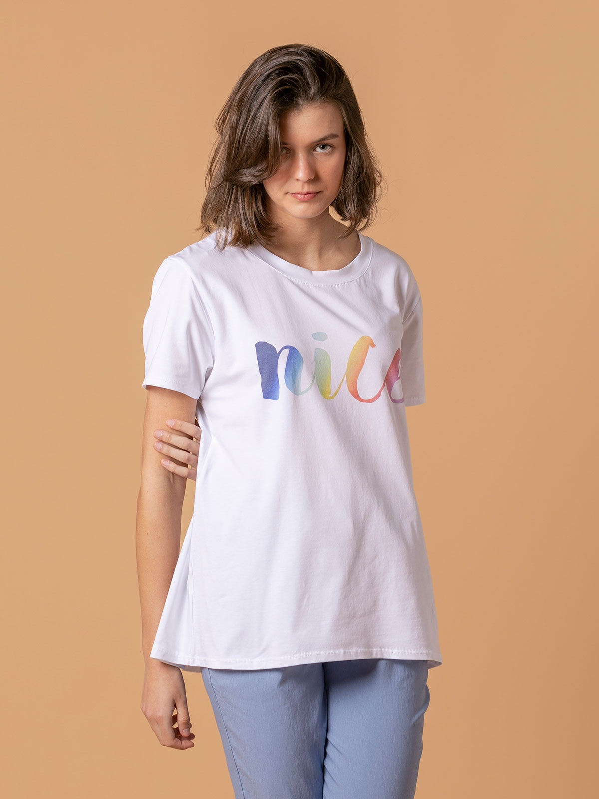 Woman Nice message t-shirt White