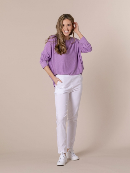 Woman Stretch comfort pants with pockets White