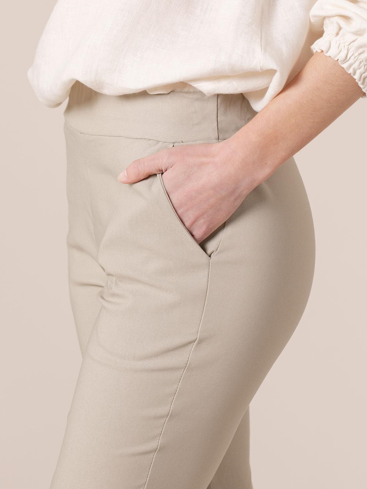 Pantalón mujer elástico confort bolsillos Beige