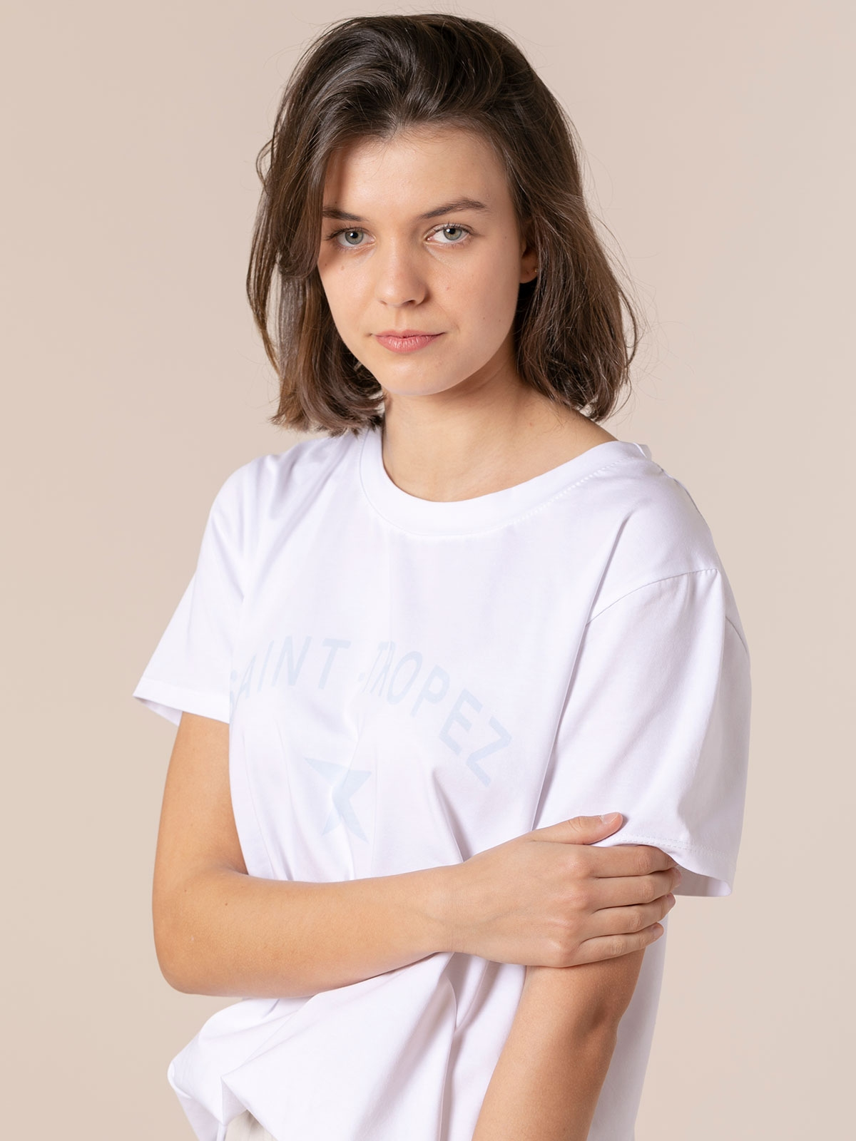 Camiseta mujer orgánica mensaje St tropez Azul