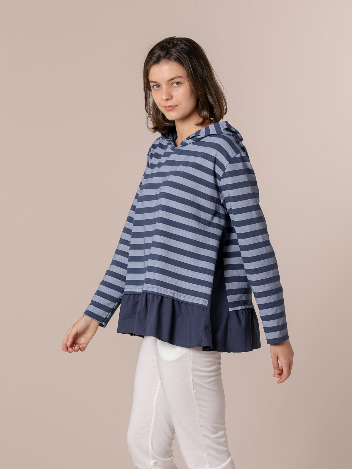 Woman Striped sweatshirt with hem detail Blue Navy