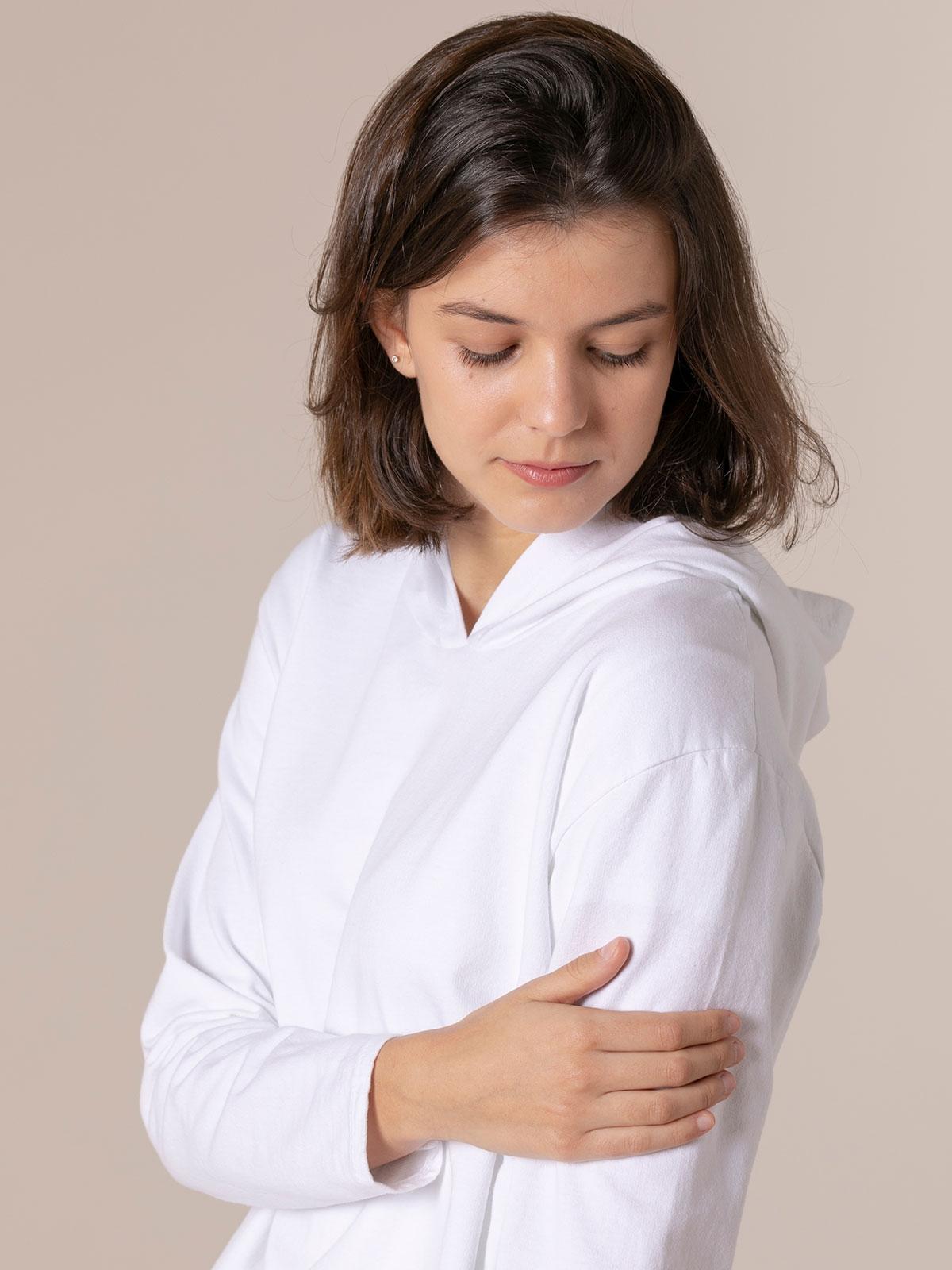 Sudadera mujer lisa con capucha Blanco