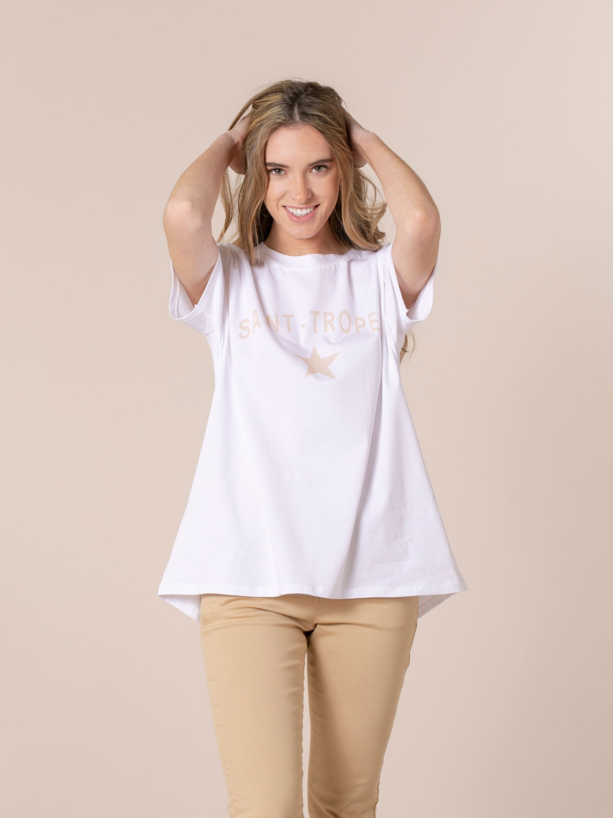 Woman St tropez message organic t-shirt Beige