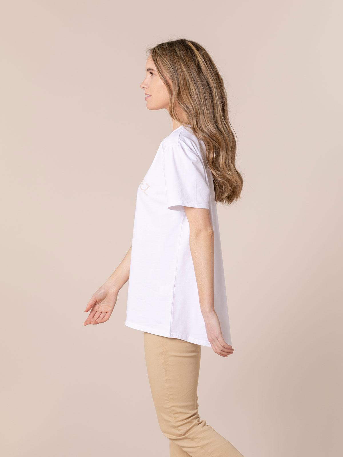 Camiseta mujer orgánica mensaje St tropez Beige