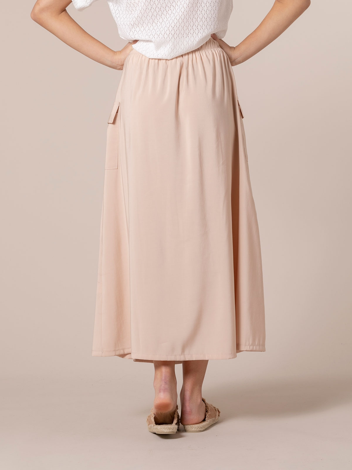 Falda larga mujer fluida botones Beige
