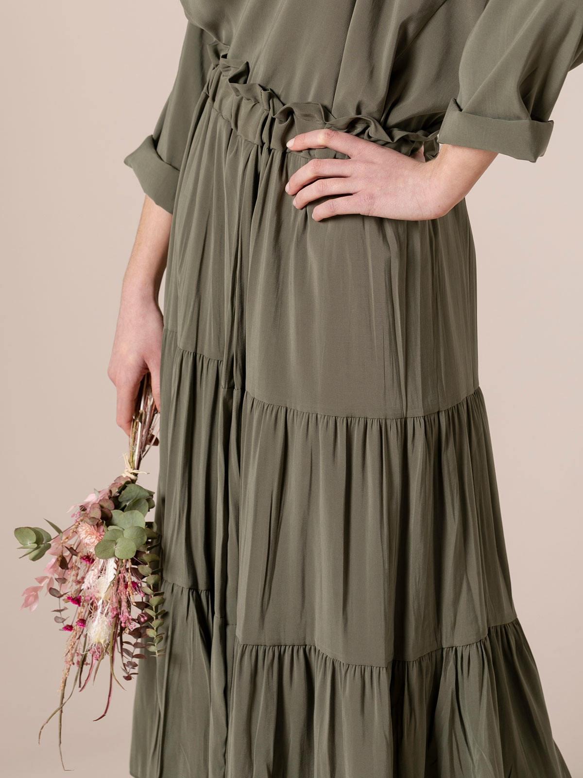 Woman Midi cuts skirt Khaki