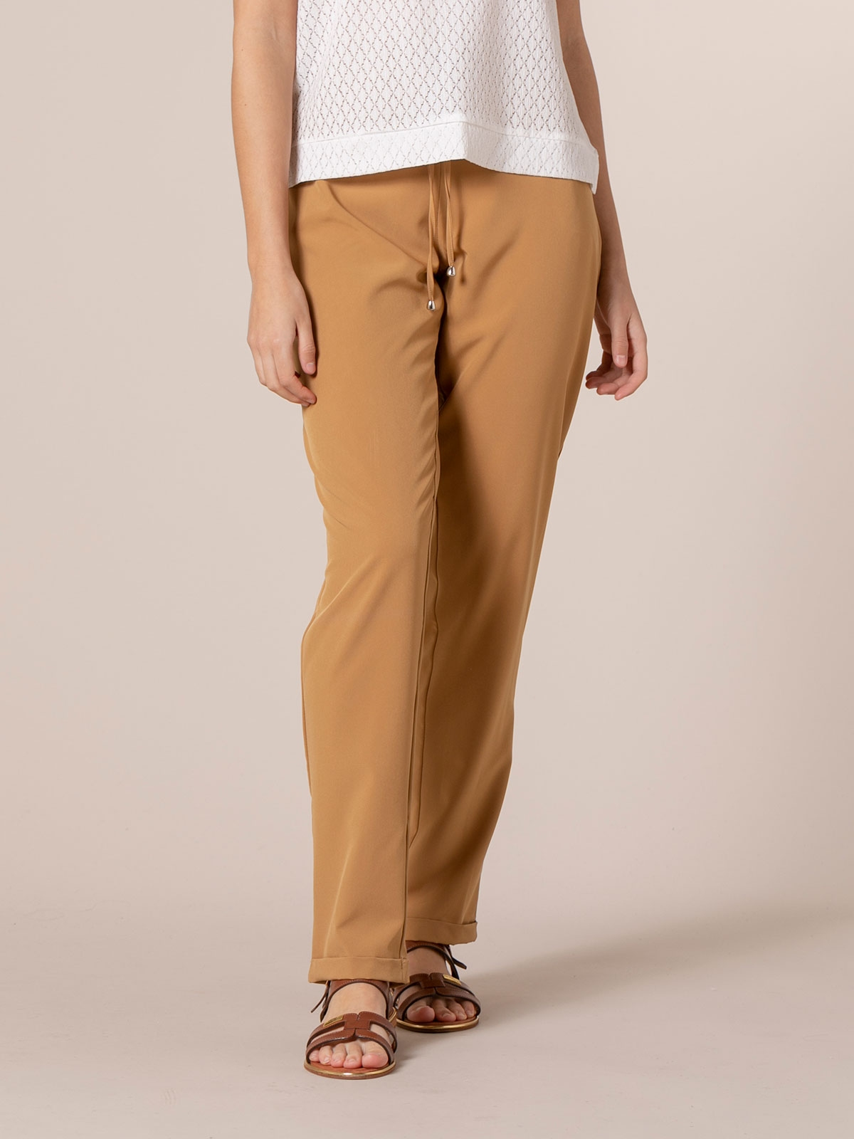 Woman Woman Plain comfort trousers Beige