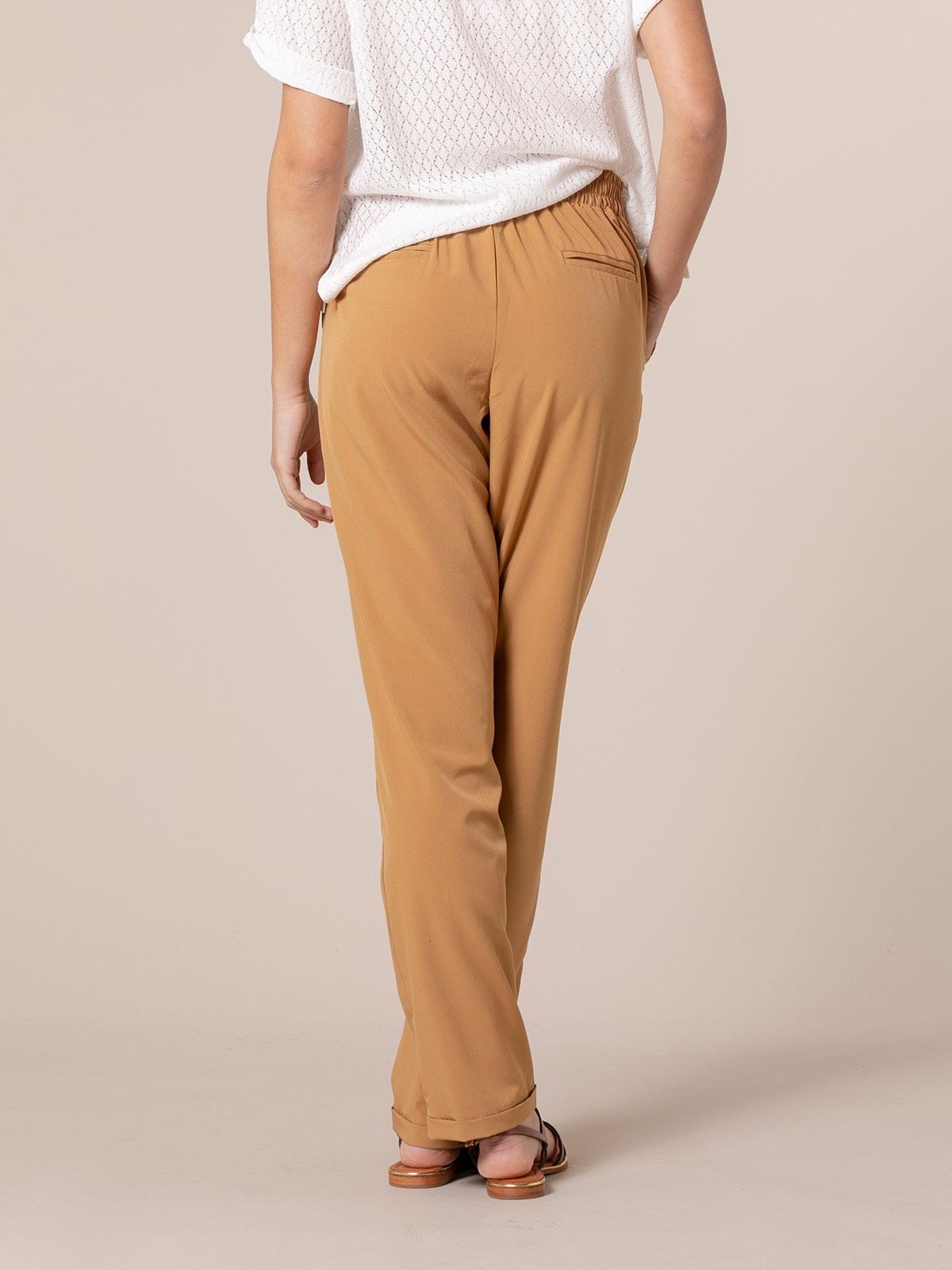 Pantalón mujer confort liso Beige