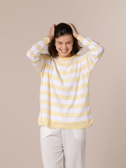 Woman Striped sweater Amarillo