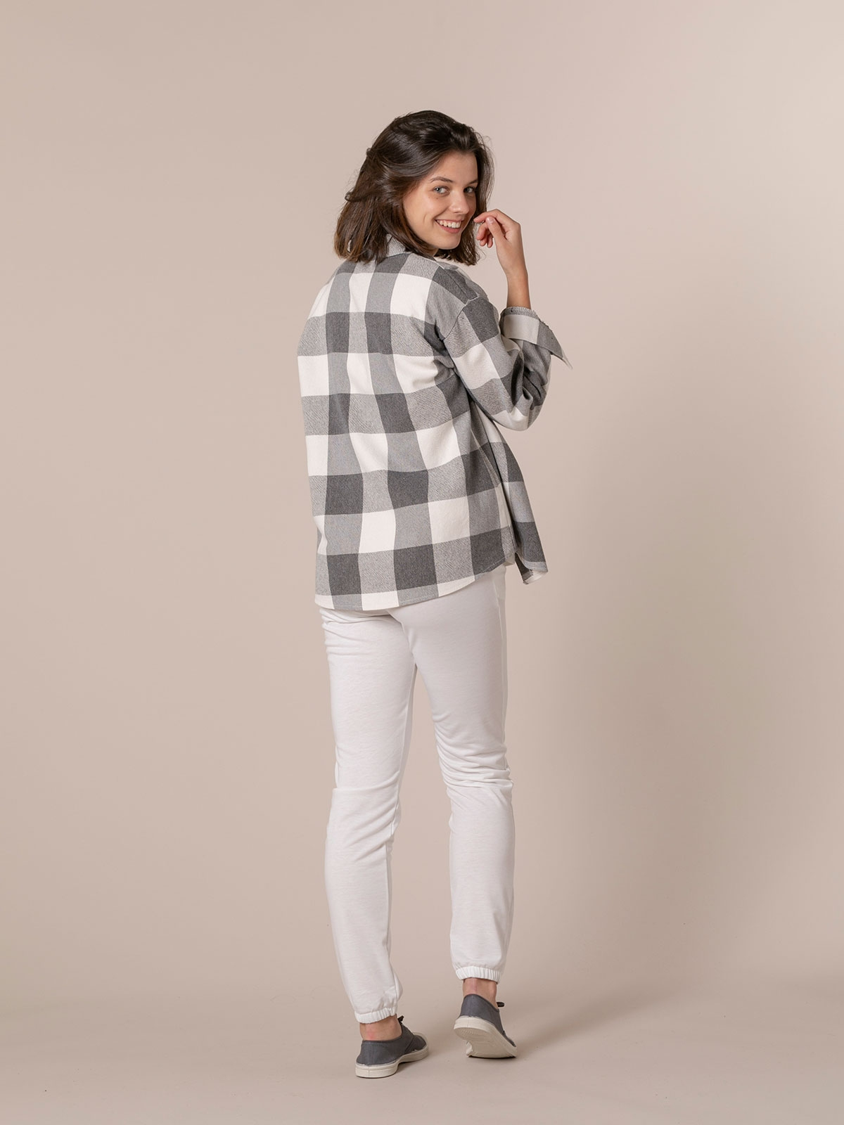 Woman Checked shirt with 2 pockets Grey