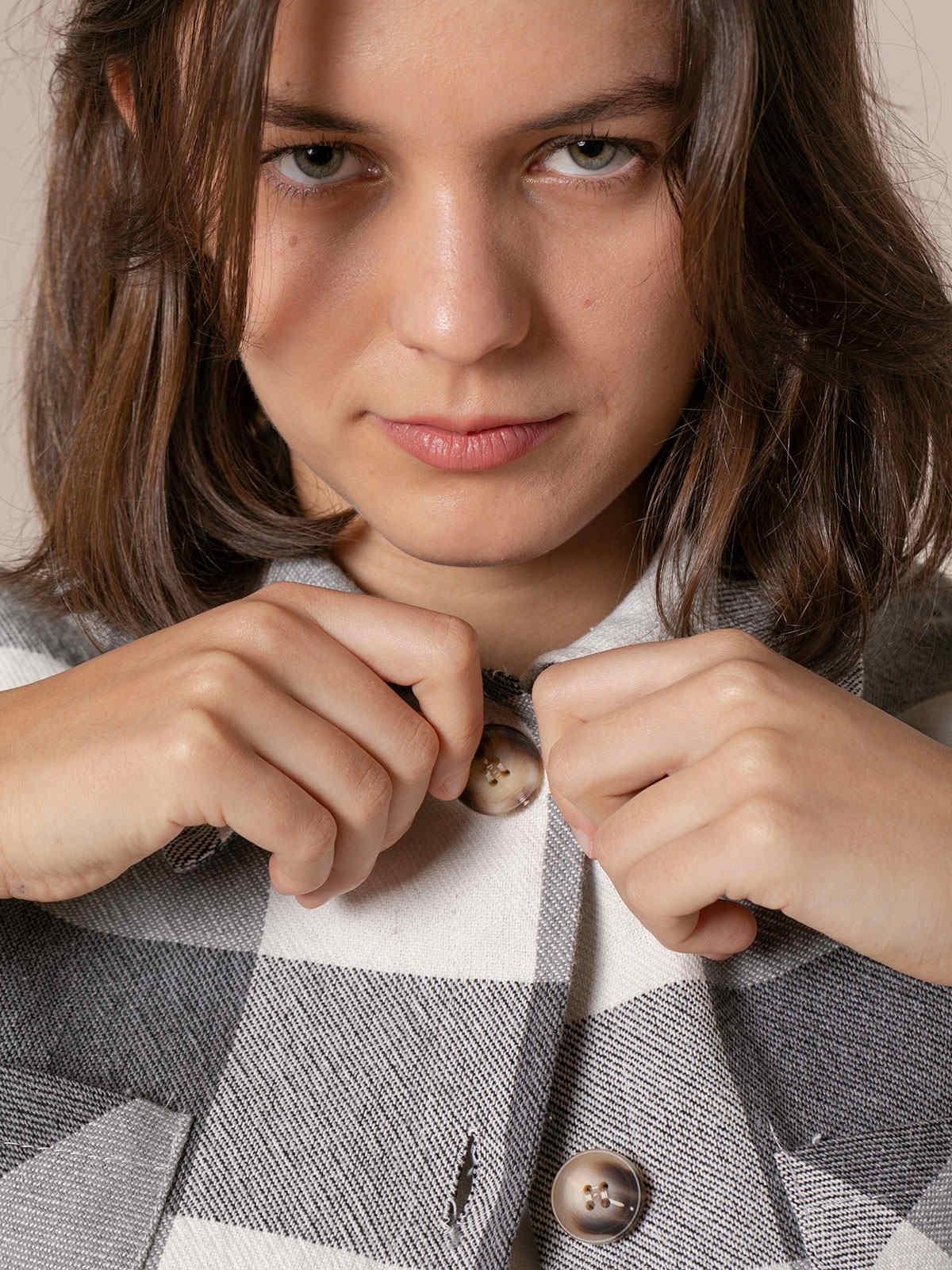 Camisa mujer cuadros 2 bolsillos algodón 100% Gris