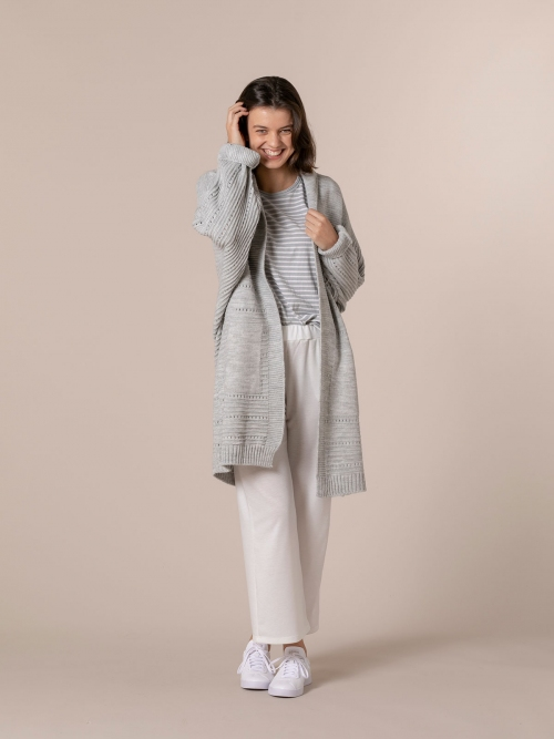 Woman Woman long cardigan with pockets Grey