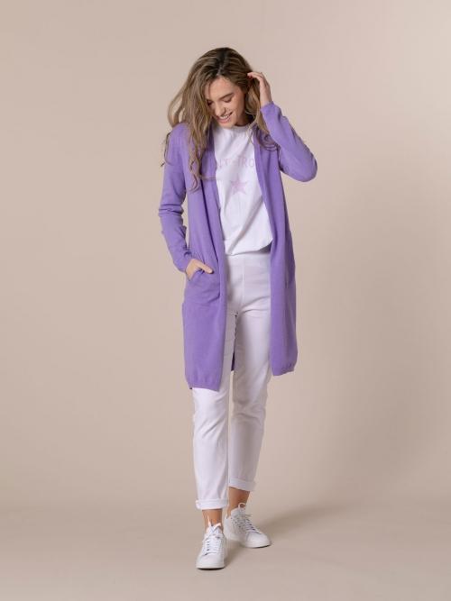 Woman Long cardigan with pockets Lila