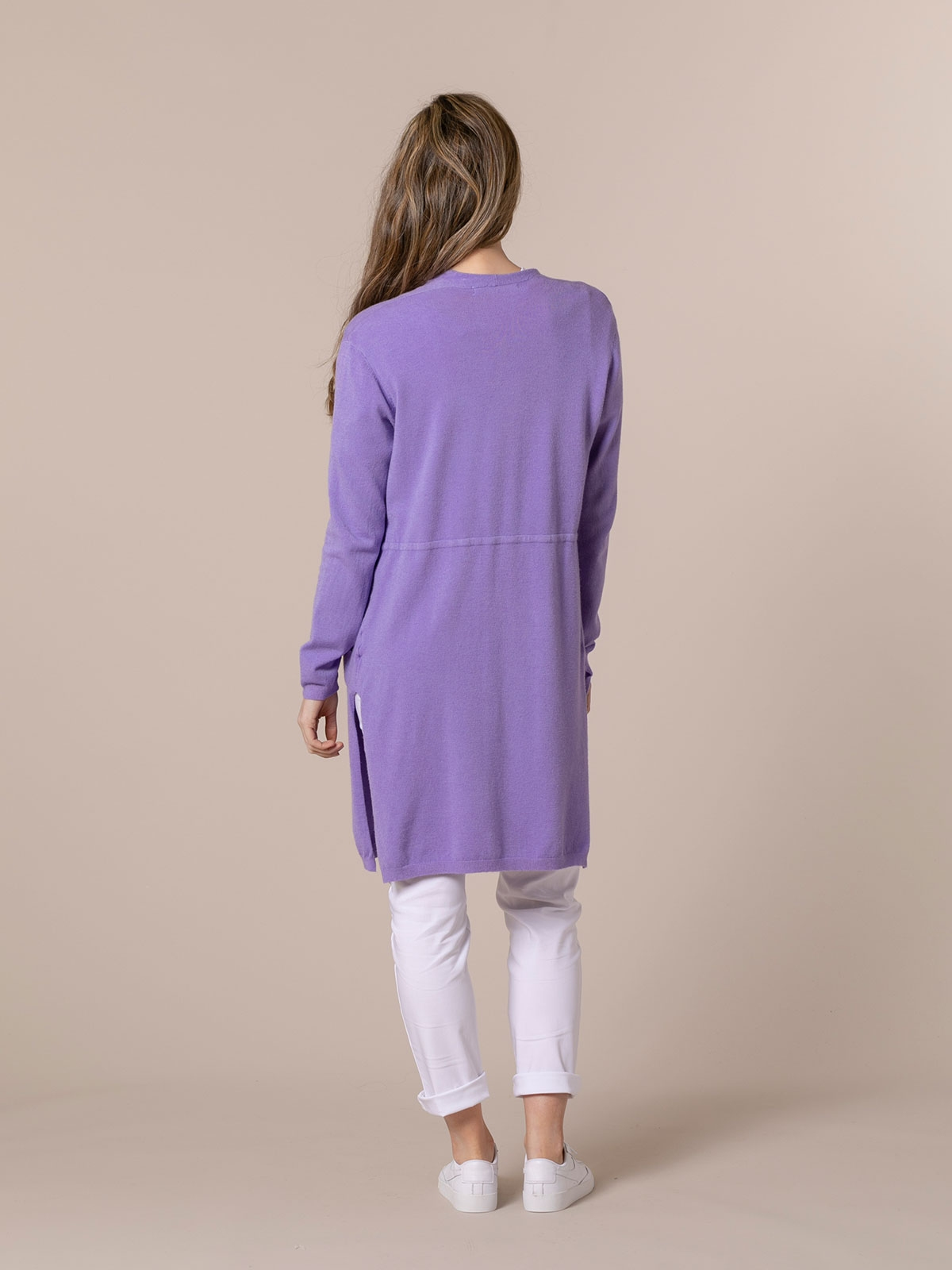 Woman Long cardigan with pockets Lila