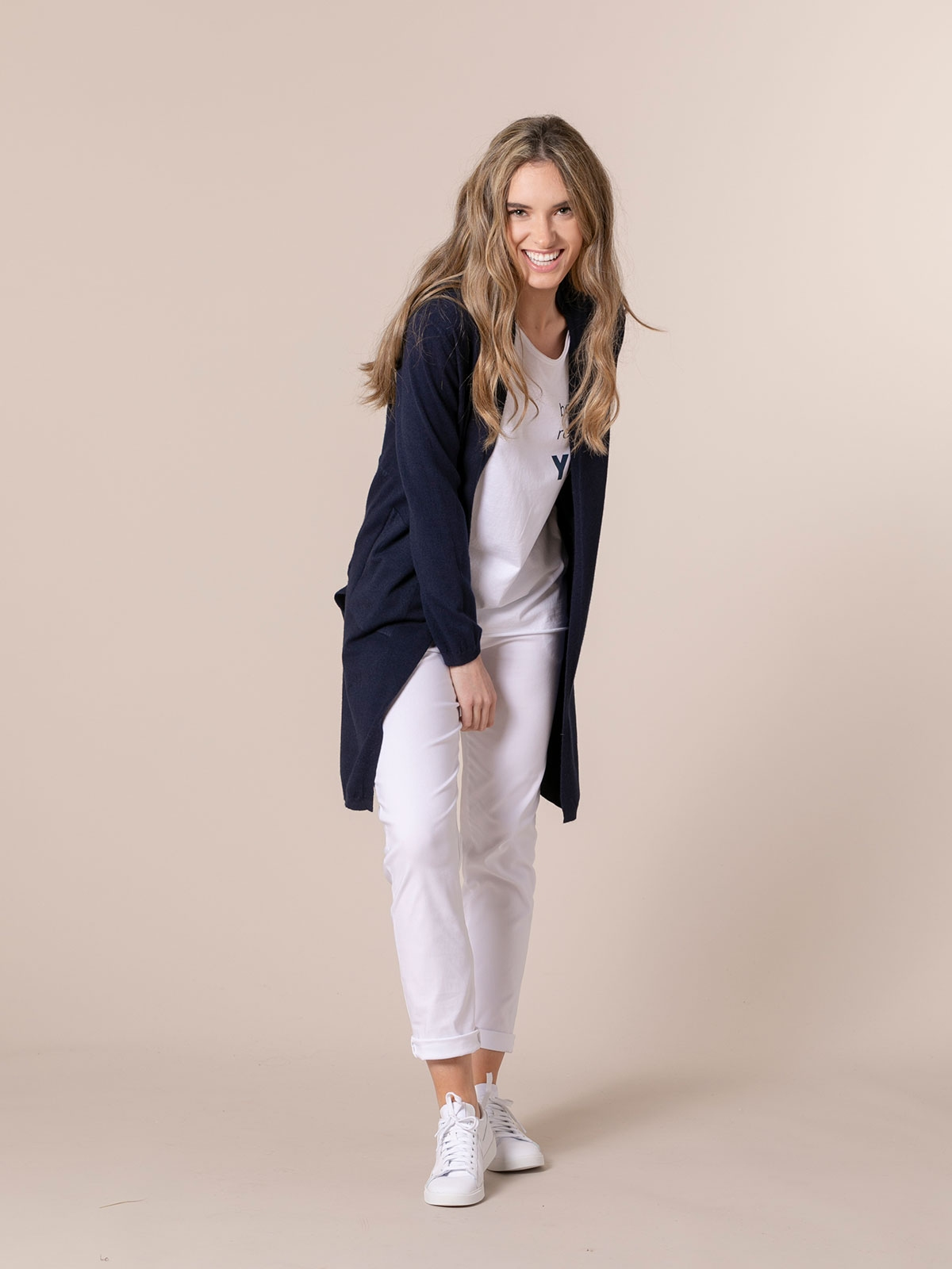 Woman Long cardigan with pockets Blue Navy