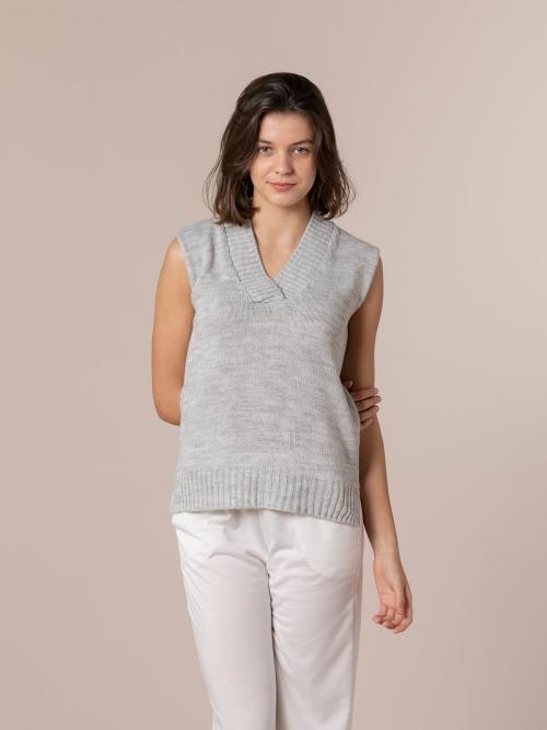 Woman Sport knit vest Grey