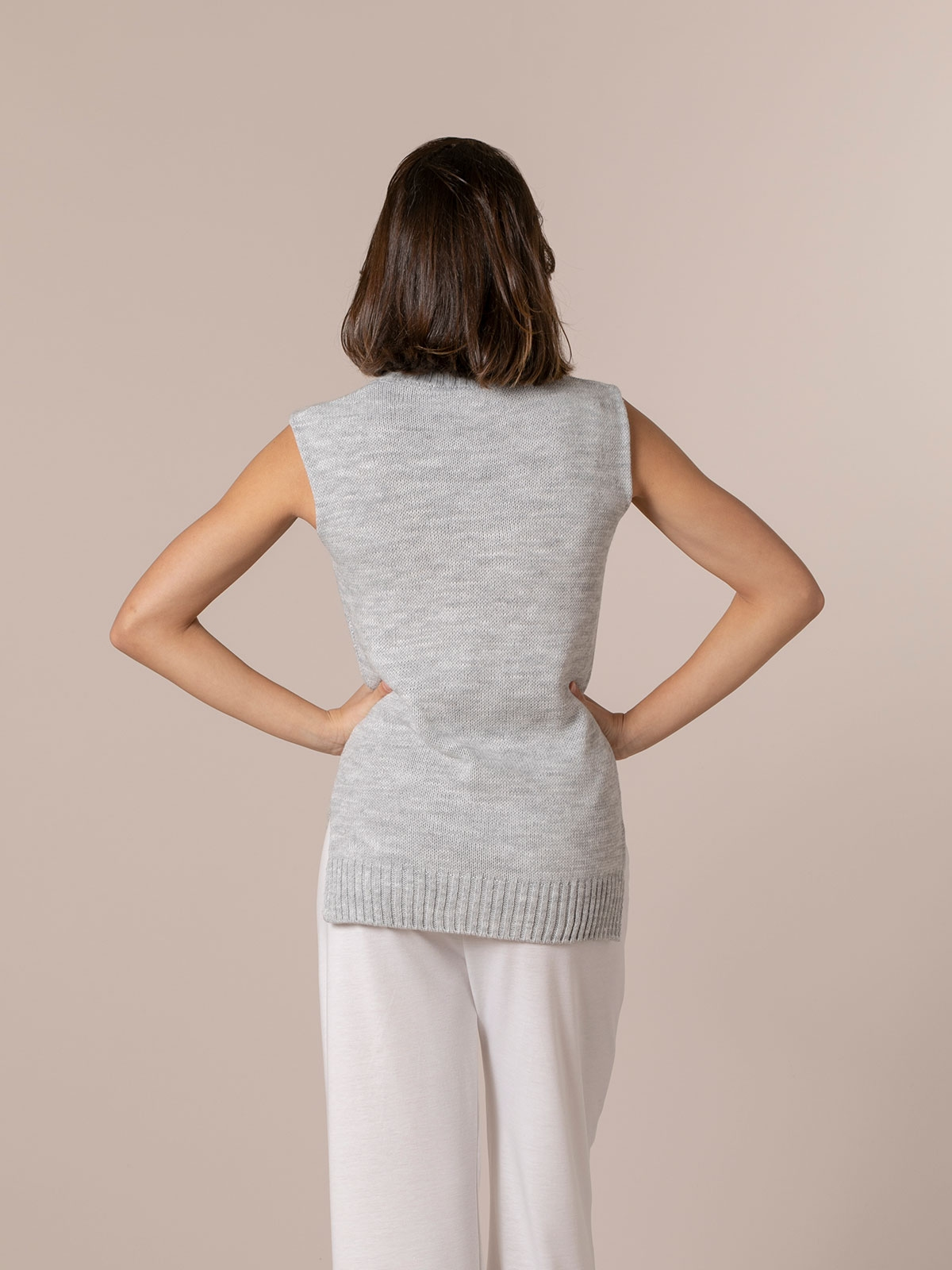 Chaleco mujer punto sport Gris