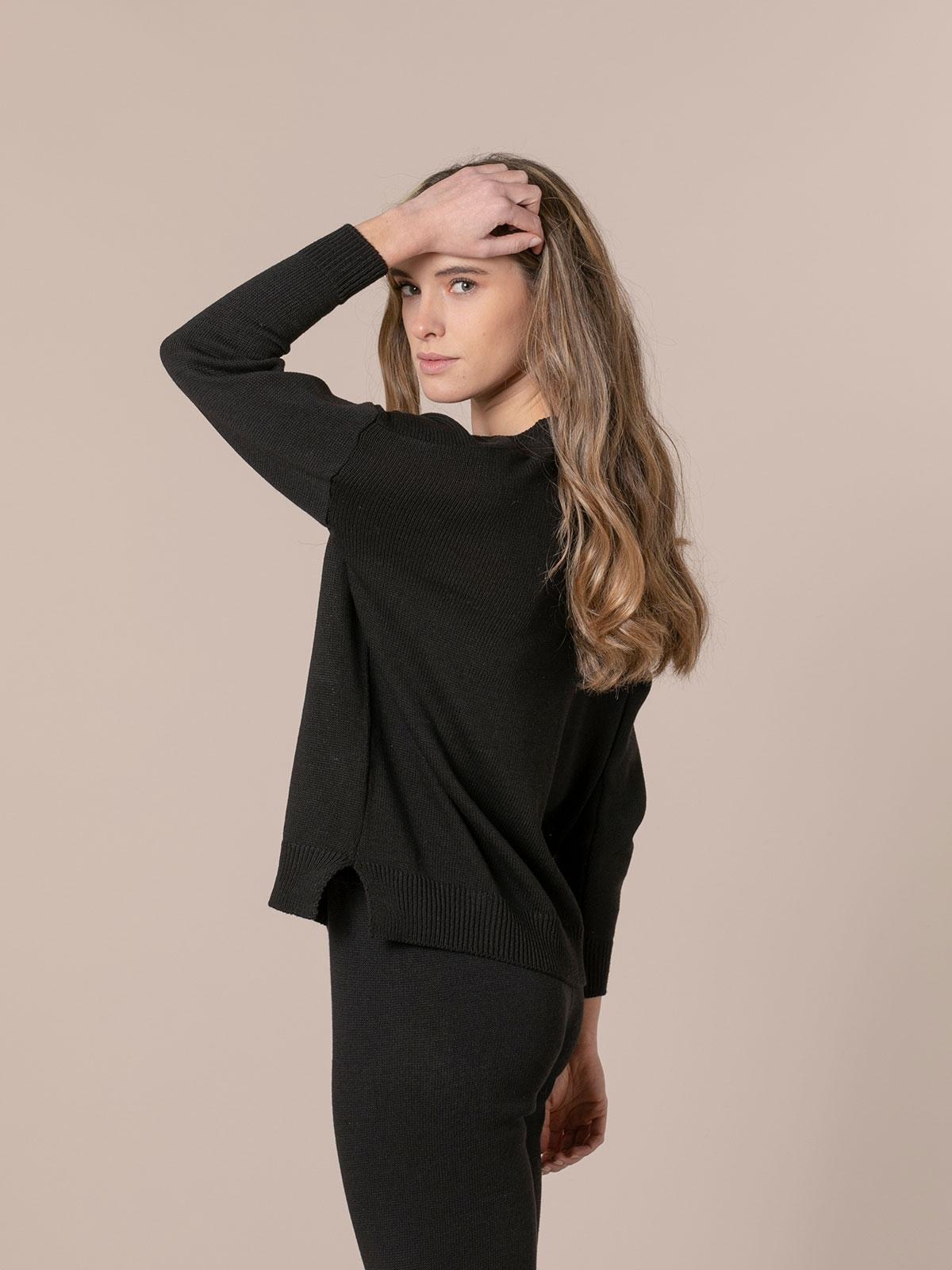 Woman Cotton knit sweater Black