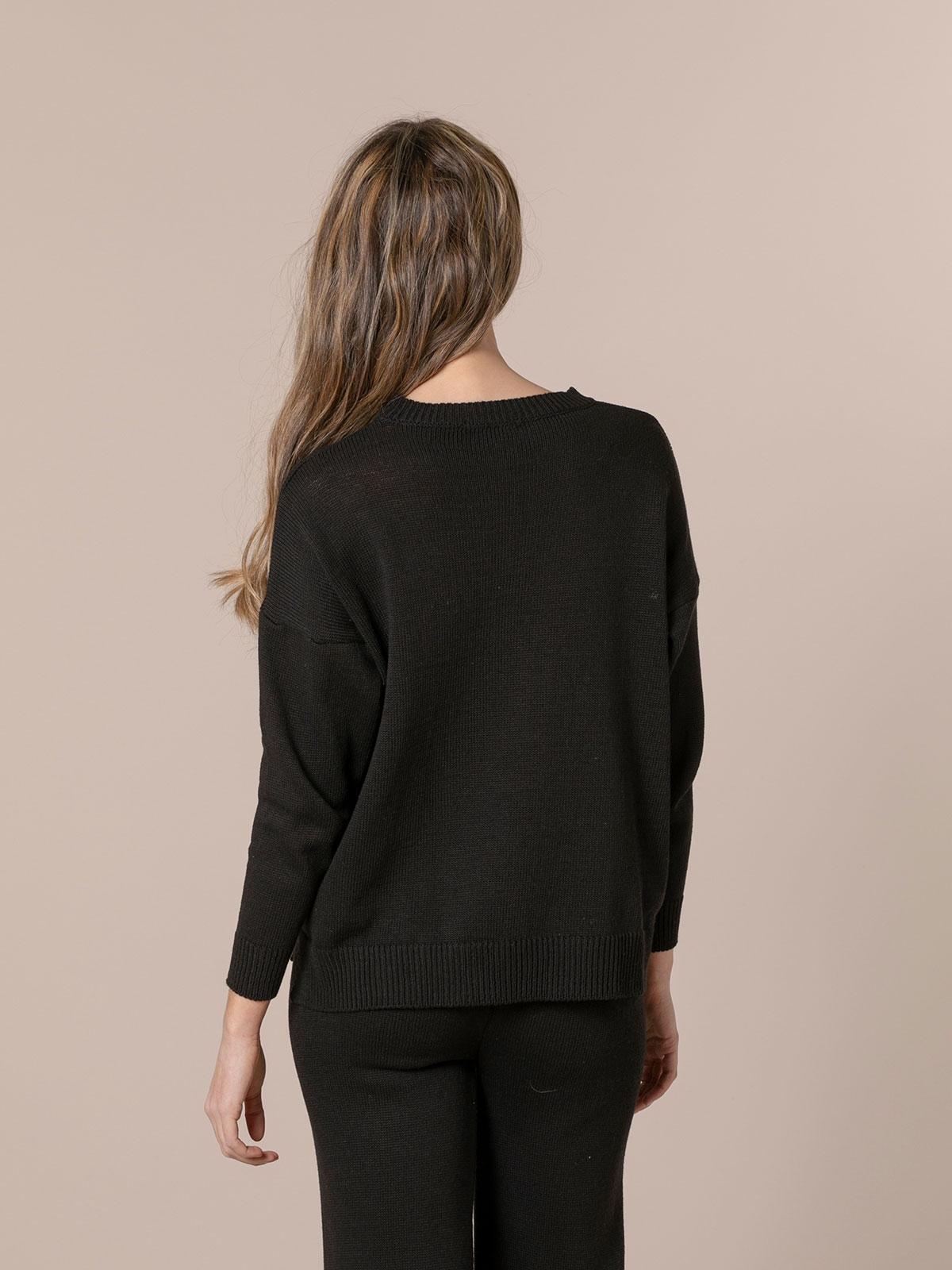 Jersey mujer punto de algodón Negro