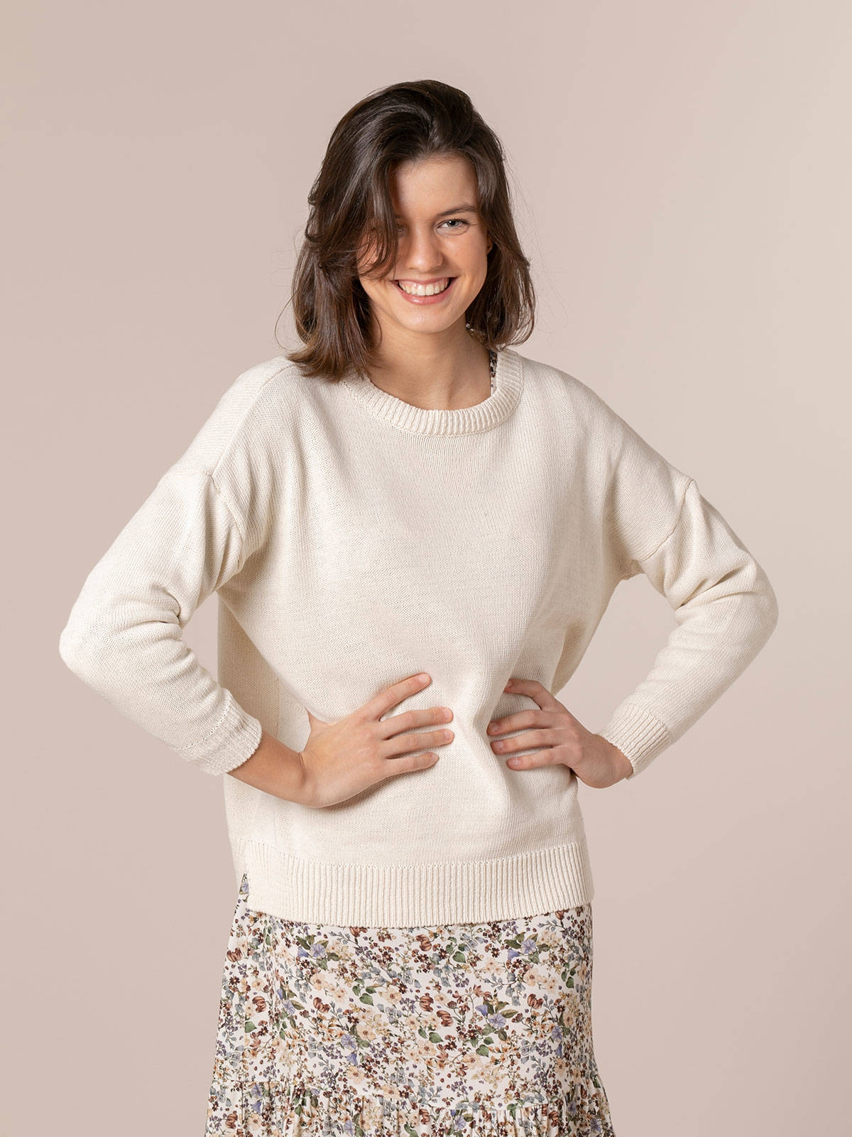 Woman Cotton knit sweater Beige