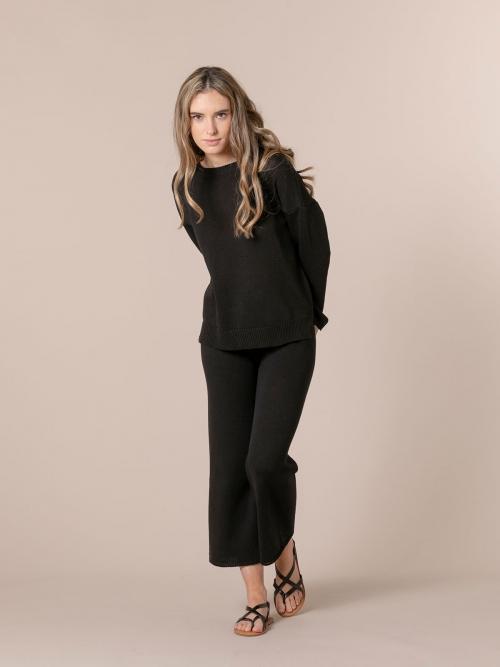 Pantalón mujer de punto algodón Negro