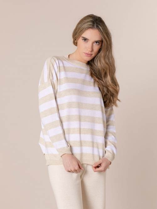 Woman Striped sweater Beige