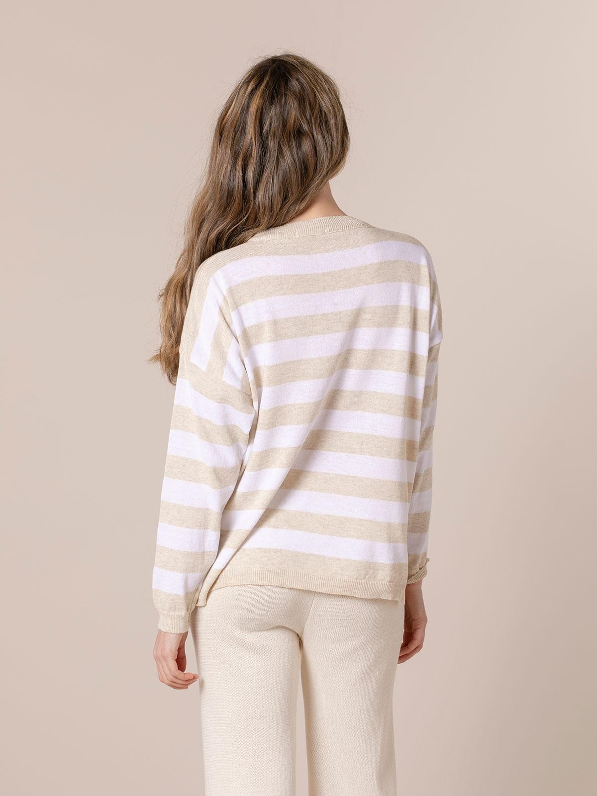 Woman Striped sweater Beige